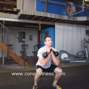 Double Kettlebell Clean & Jerk, Situps and Chinups.