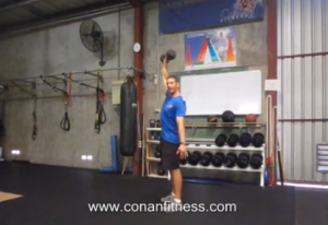 Exercise Of The Month – DB Power Snatch – OH Pushup Clap & ALT V-Ups