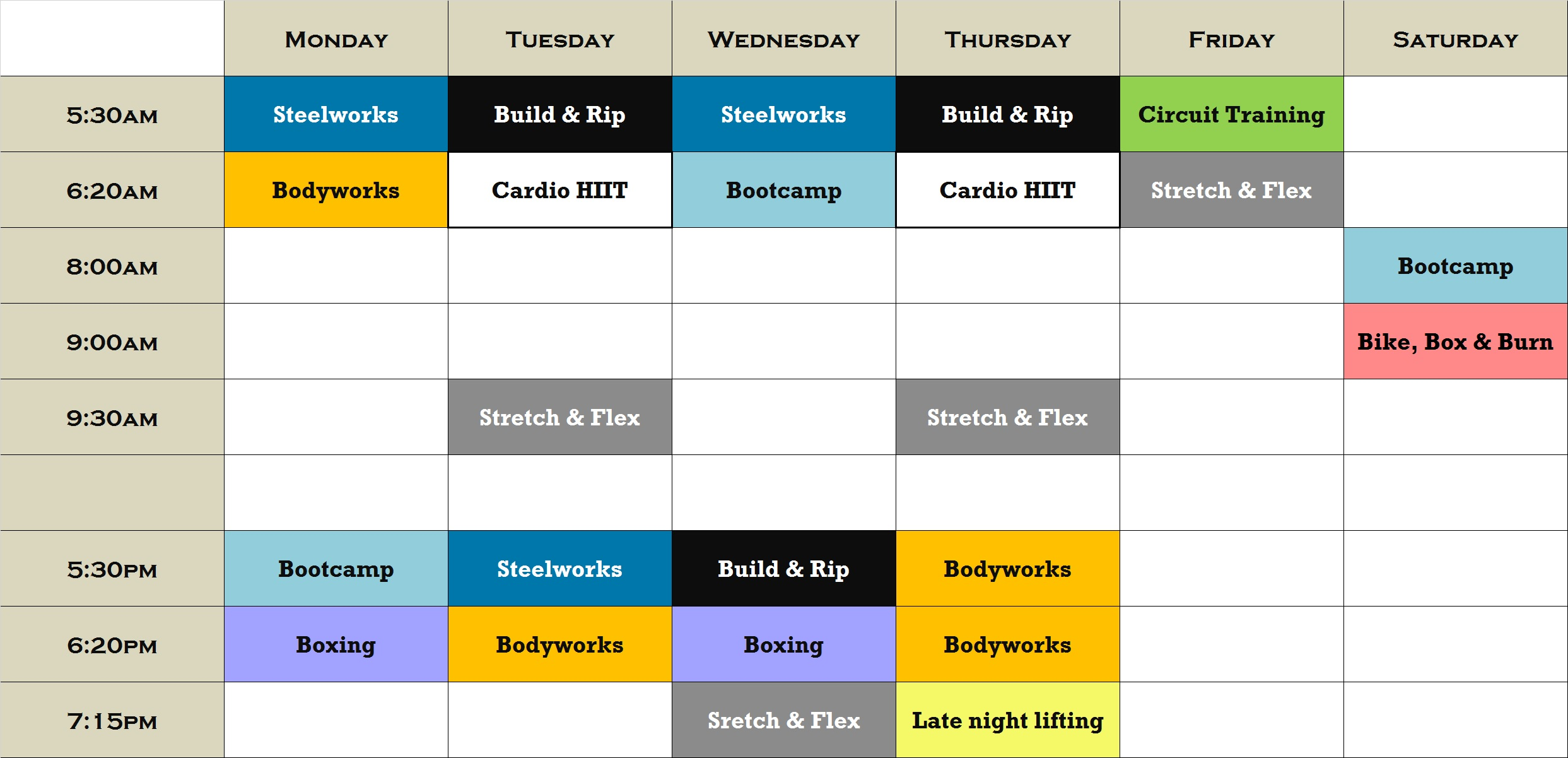 Current Group Training Timetable