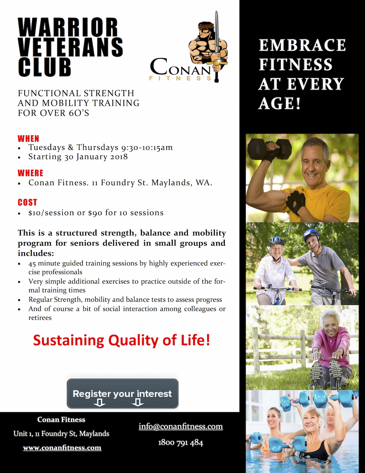 functional strength and mobility training for over 60's